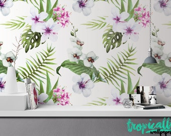 Tropical Leaves Pattern Wallpaper - Removable Wallpaper - Monstera Palm and Hibiscus Wallpaper - Exotic Wall Sticker - Tropical Wallpaper