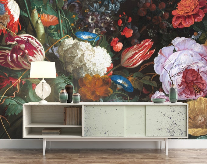 Dark Dutch Floral Mural