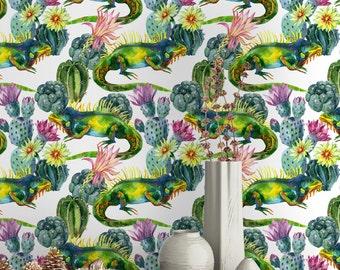 Watercolor Cactus and Lizard Pattern Wallpaper - Removable Wallpaper - Lizard Cactus Wallpaper - Exotic Wall Sticker - Tropical Wallpaper