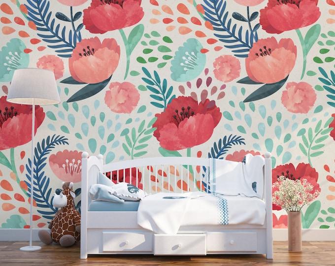 Vintage Poppy Flower Wallpaper