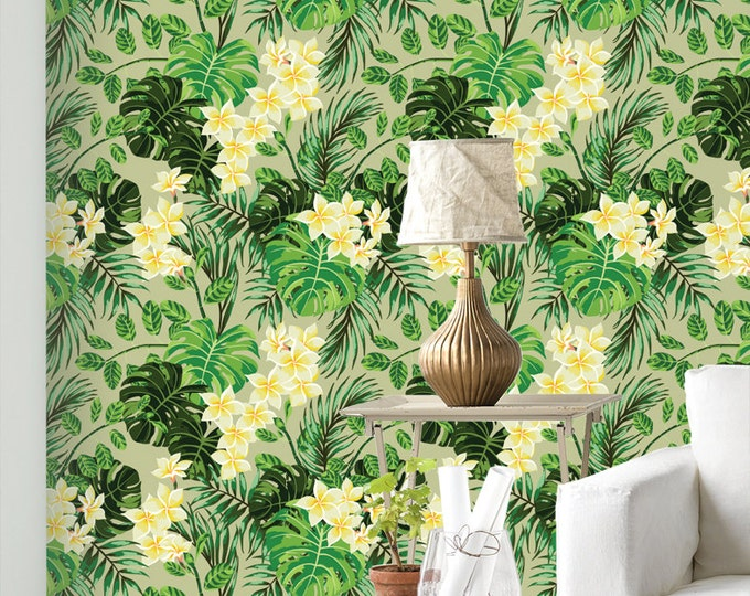 Monstera Palm Wallpaper - Removable Wallpapers - Floral Monstera Wallpaper - Self Adhesive Wall Decal - Temporary Peel and Stick Wall Art