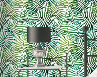Palm Leaves Pattern Wallpaper - Removable Wallpaper - Tropical Plants and Flower Wallpaper - Exotic Wall Sticker - Tropical Wallpaper