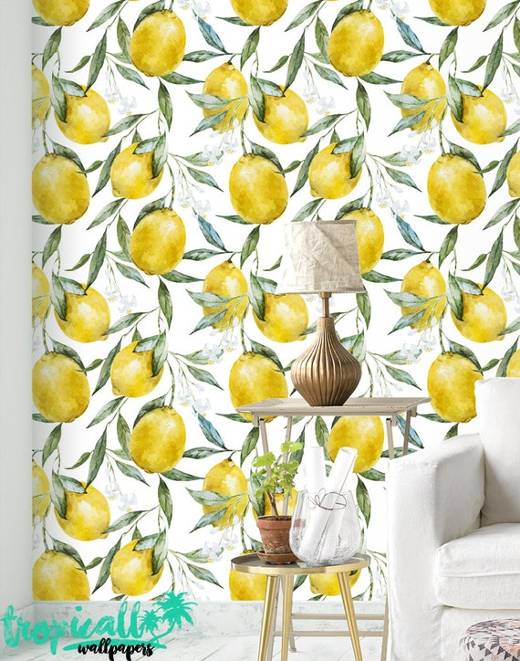 Lemon Print Wallpaper Removable Wallpapers Floral Etsy