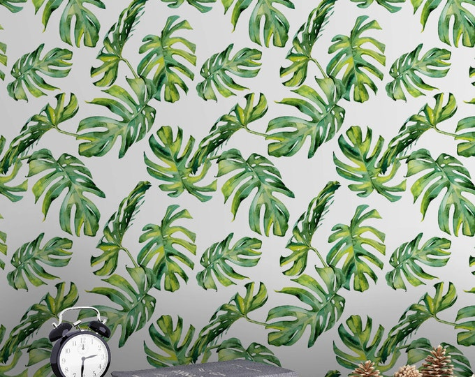 Monstera Leaf Wallpaper - Removable Wallpapers - Floral Watercolor Wallpaper - Self Adhesive Wall Decal - Temporary Peel and Stick Wall Art
