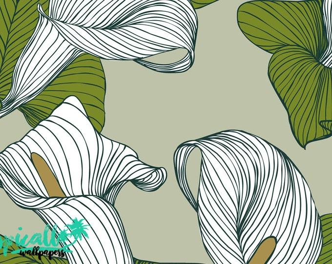 Calla Lily Flower Pattern Wallpaper - Removable Wallpaper - Beautiful Calla Lily Wallpaper - Exotic Wall Sticker - Tropical Wallpaper