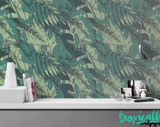 Monstera Leaves Wallpaper - Removable Wallpapers - Banana Print Wallpaper - Self Adhesive Wall Decal - Temporary Peel and Stick Wall Art
