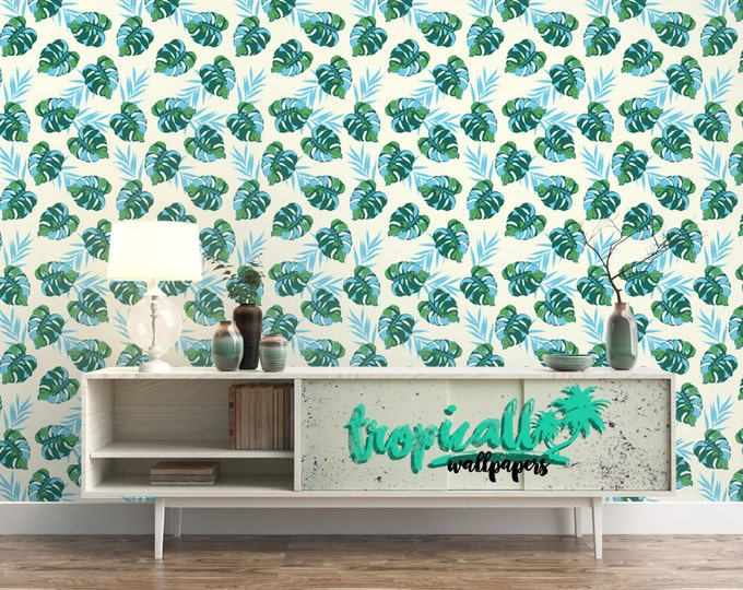 Tropical Leaves Pattern Wallpaper - Removable Wallpaper - Monstera Leaves and Palm Wallpaper - Exotic Wall Sticker - Tropical Wallpaper