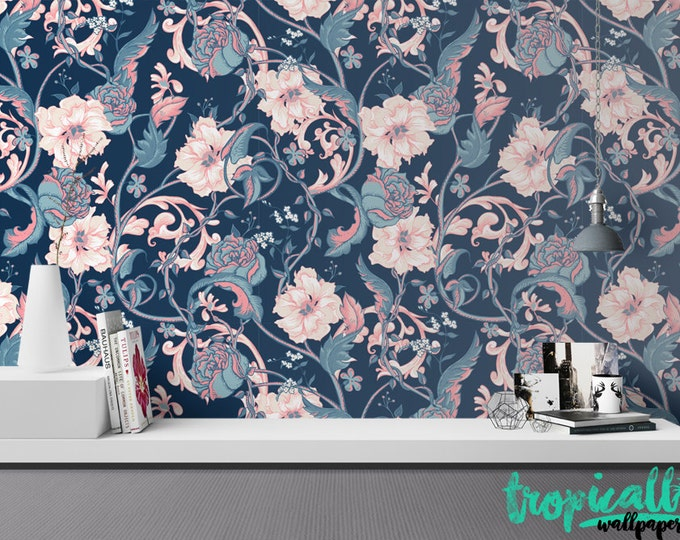 Vintage Flowers Wallpaper - Removable Wallpaper - Vintage Colorful Garden Flowers Wallpaper - Exotic Wall Sticker - Tropical Wallpaper