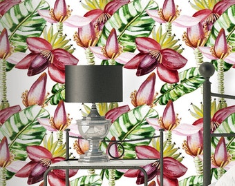 Watercolor Banana Wallpaper - Removable Wallpapers - Floral Leaves Wallpaper - Self Adhesive Wall Decal - Temporary Peel and Stick Wall Art
