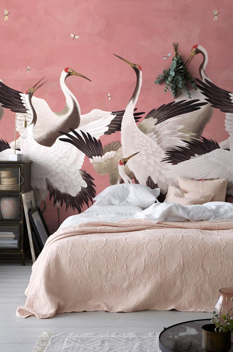 Heron Print Wallpaper Removable Peel and Stick Mural image 0