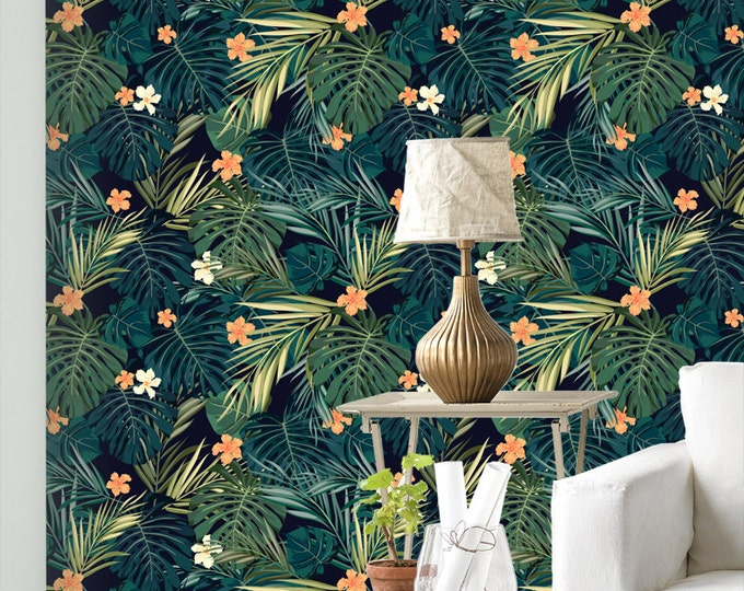 Palm Leaf Monstera Wallpaper - Removable Wallpapers - Monstera Palm Wallpaper - Self Adhesive Wall Decal - Temporary Peel and Stick Wall Art