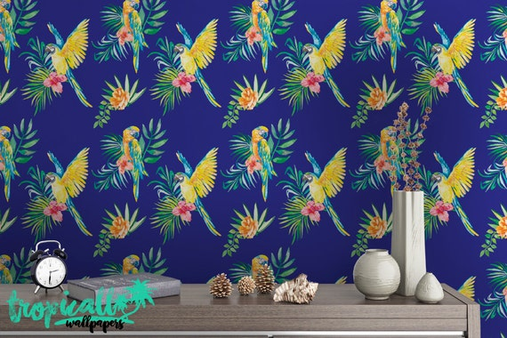 Tropical Print Wallpaper Removable Wallpapers Floral Parrot Wallpaper Self Adhesive Wall Decal Temporary Peel And Stick Wall Art