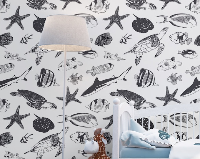Sea Life Pattern Wallpaper - Removable Kids Wallpaper - Childrens and toddler Wallpaper - Nursery Wall Sticker - Tropical Fish Wallpaper