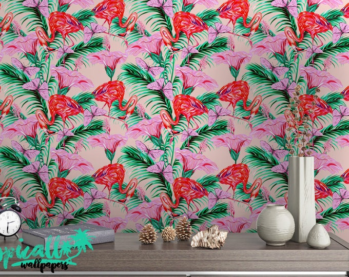 Flamingo Wallpaper - Removable Wallpapers - Flamingo Wall Art Floral Wallpaper - Self Adhesive Wall Decal - Temporary Peel and Stick