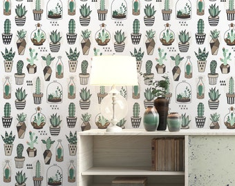 Small Cactus Pattern Wallpaper - Removable Wallpaper - Tropical Cactus Plants Wallpaper - Exotic Wall Sticker - Tropical Wallpaper