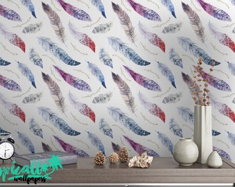 Birds Feathers Pattern BOHO Style Wallpaper - Removable Wallpaper - Watercolor Feathers Wallpaper - Exotic Wall Sticker - Tropical Wallpaper