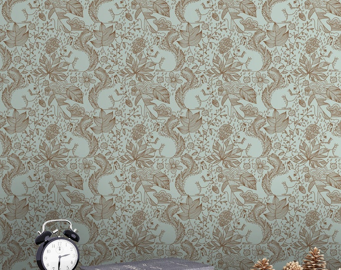 Forest Plants and Squirrel Pattern Wallpaper - Removable Wallpaper - Forest Plants Animals Wallpaper - Exotic Wall Sticker -  Forest Plants
