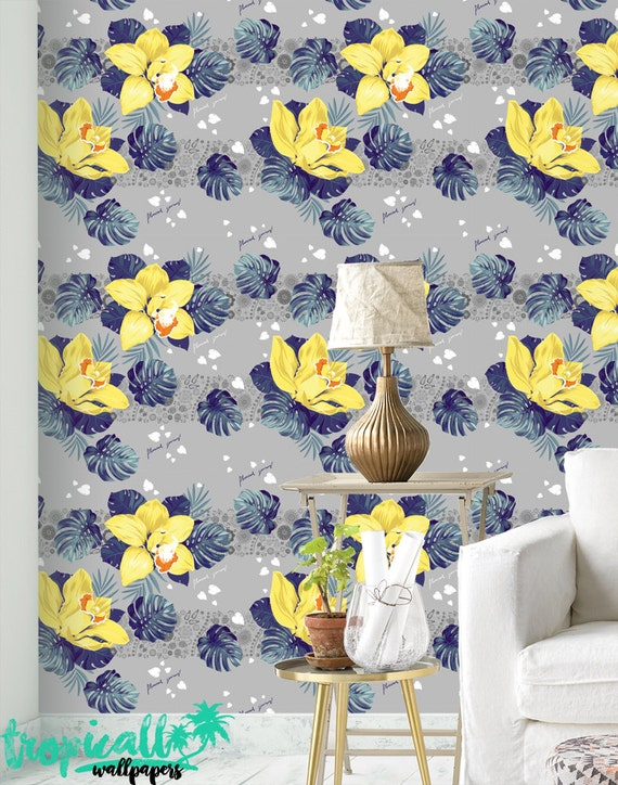 pattern  removable nature photowallpaper photo W#363 wallpaper Tropical flowers Tropical flowers removable or traditional photo mural
