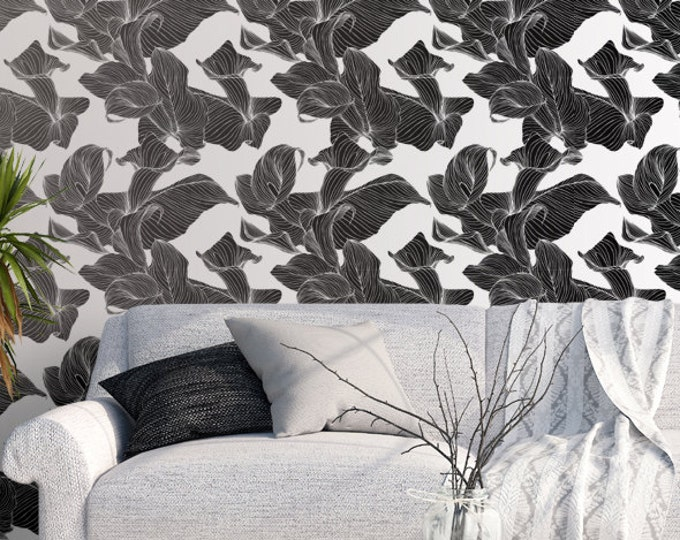 Calla Lily Flower Pattern Wallpaper - Removable Wallpaper - Black and White Calla Lily Wallpaper - Exotic Wall Sticker - Tropical Wallpaper