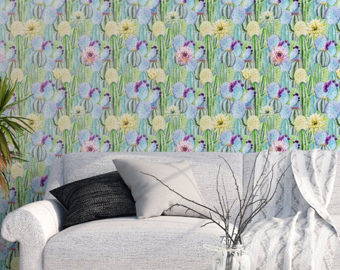 Watercolor Cactus Pattern Wallpaper - Removable Wallpaper - Tropical Cactus Plants Wallpaper - Exotic Wall Sticker - Tropical Wallpaper