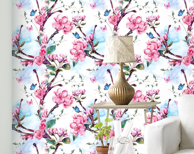 Cherry Blossom Flowers Pattern Wallpaper - Removable Wallpaper - Pink Poppy Flower Wallpaper - Exotic Wall Sticker - Tropical Wallpaper