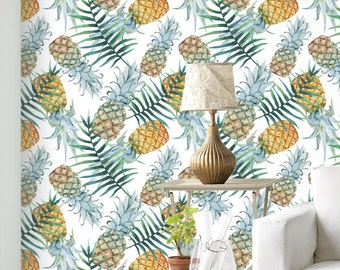 Pineapple And Palm Leaves Wallpaper - Removable Wallpaper - Tropical Plants and Flower Wallpaper - Exotic Wall Sticker - Tropical Wallpaper