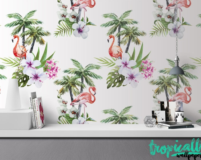 Flamingo Wallpaper - Removable Wallpapers - Flamingo Floral Print Wallpaper - Self Adhesive Wall Decal - Temporary Peel and Stick Wall Art