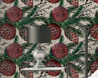 Winter Pines Wallpaper - Removable Wallpaper - Winter Plants and Flower Wallpaper - Exotic Wall Sticker - Tropical Wallpaper