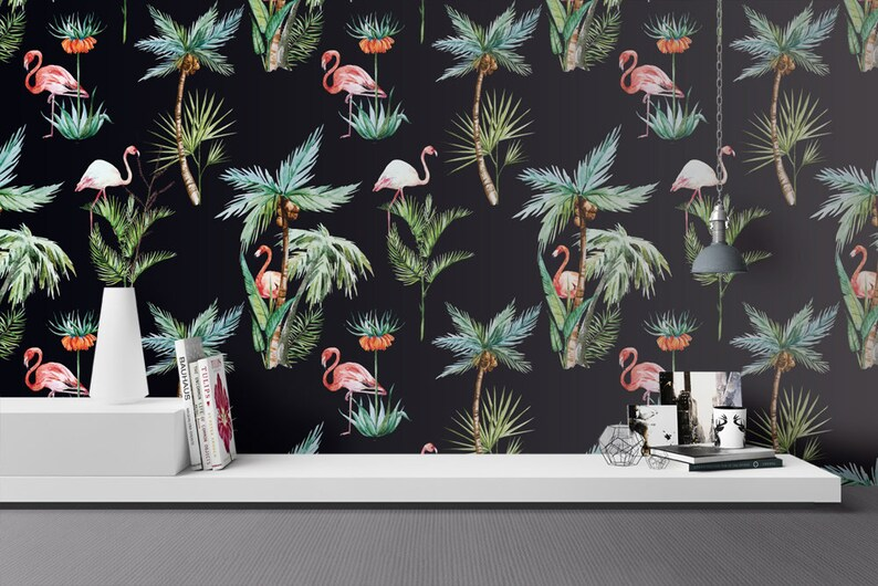 Flamingo Wallpaper  Removable Wallpapers  Floral Palm Tree image 0