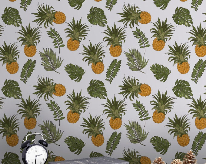 Tropical Pineapple Pattern Wallpaper - Removable Wallpaper - Tropical Plants and Flower Wallpaper - Exotic Wall Sticker - Tropical Wallpaper