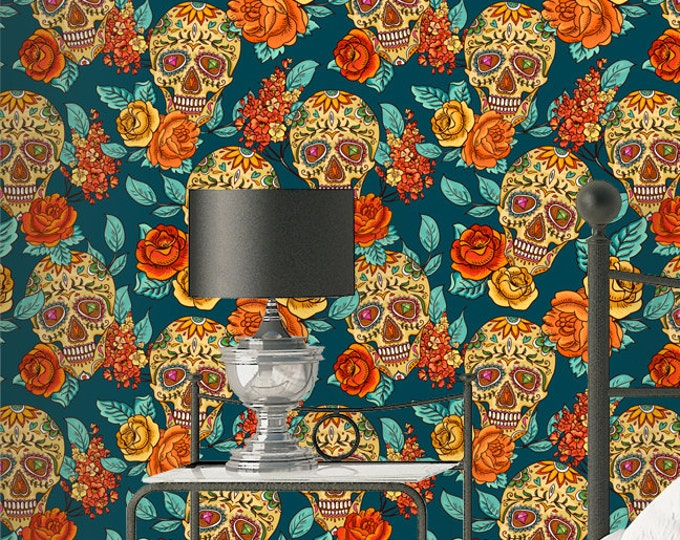 Sugarskull Wallpaper - Removable Wallpapers - Floral Boho Wallpaper - Self Adhesive Halloween Wall Decal - Temporary Peel and Stick Wall Art