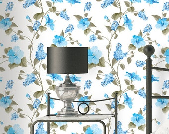 Hibiscus Pattern Wallpaper - Removable Wallpaper - Vintage Blue Hibiscus Flower Wallpaper - Exotic Wall Sticker - Tropical Wallpaper