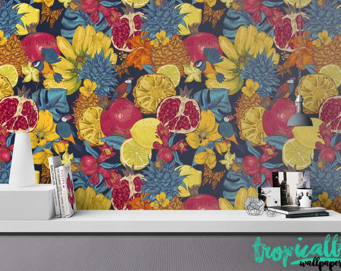 Tropical Fruit Wallpaper - Removable Wallpapers - Floral Bird Print Wallpaper - Self Adhesive Wall Decal - Temporary Peel and Stick Wall Art