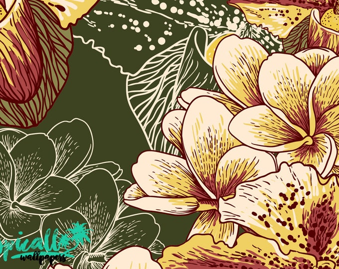 Exotic Flower Pattern Wallpaper - Removable Wallpaper - Tropical Garden Flower Wallpaper - Exotic Wall Sticker - Tropical Wallpaper