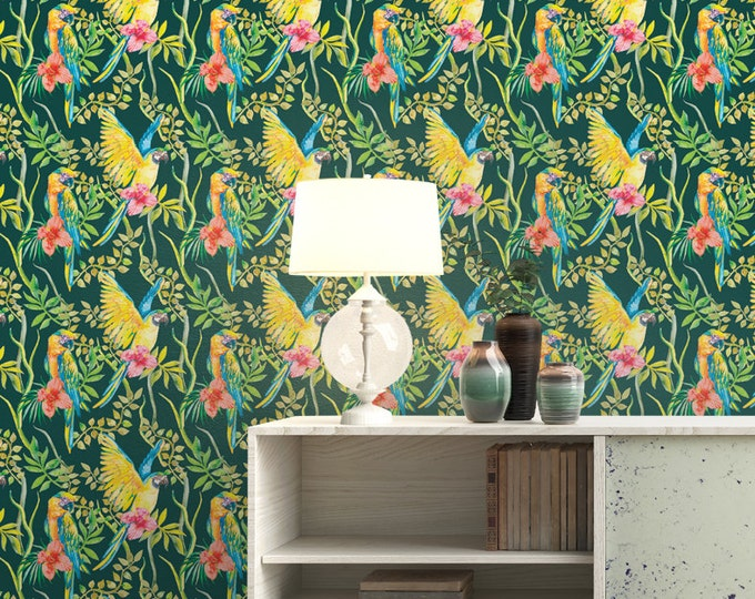 Exotic Parrot Pattern Wallpaper - Removable Wallpaper - Tropical Flower and Birds Wallpaper - Exotic Wall Sticker - Tropical Wallpaper
