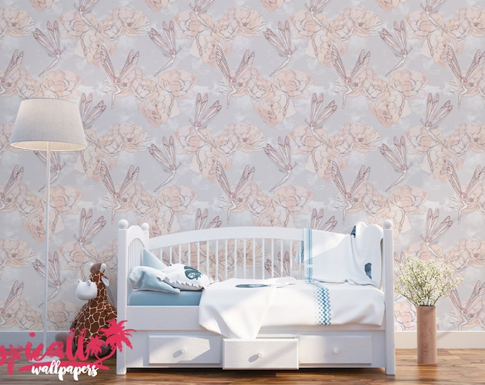 Fairy Tales Pattern Wallpaper - Removable Kids Wallpaper - Childrens and toddler Wallpaper - Nursery Wall Sticker - Tropical Wallpaper