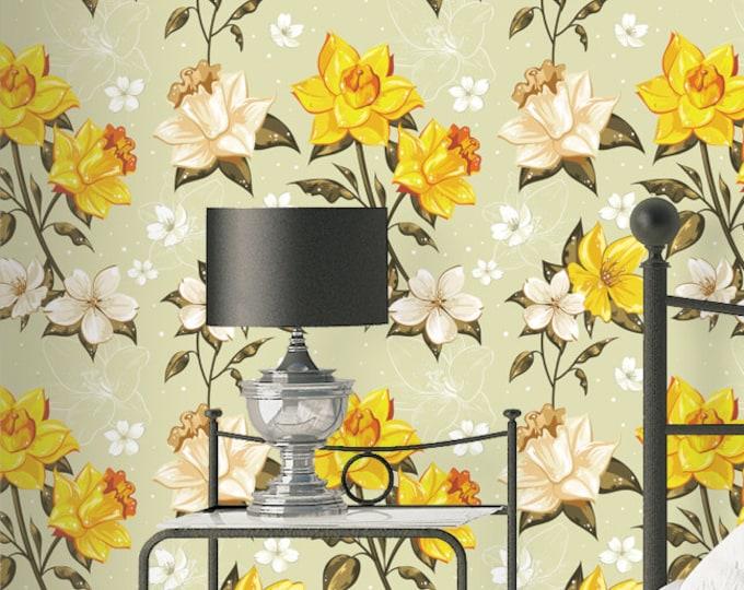 Elegant Spring Flowers Pattern Wallpaper - Removable Wallpaper - Yellow Poppy Flower Wallpaper - Exotic Wall Sticker - Tropical Wallpaper