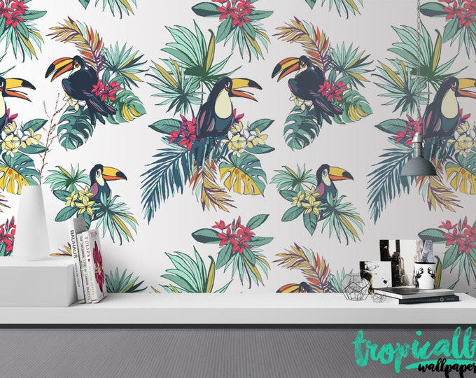 Toucan Wallpaper - Removable Wallpapers - Toucan Birds Floral Print Wallpaper - Self Adhesive Wall Decal - Temporary Peel and Stick Wall Art