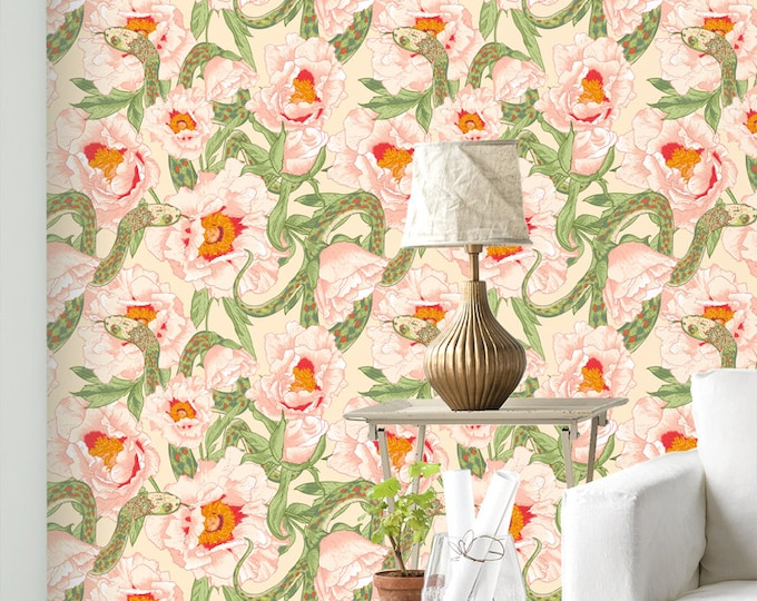 Floral Snake Wallpaper - Removable Wallpapers - Exotic Flower Print Wallpaper - Self Adhesive Wall Decal - Temporary Peel and Stick Wall Art