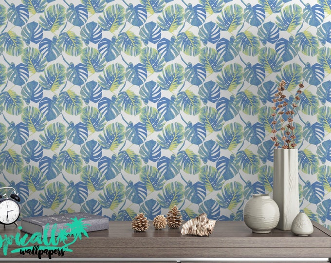 Monstera Leaf Print Wallpaper - Removable Wallpaper - Monstera Palm Leaves Wallpaper - Tropical Print - Temporary Peel and Stick Wall Art