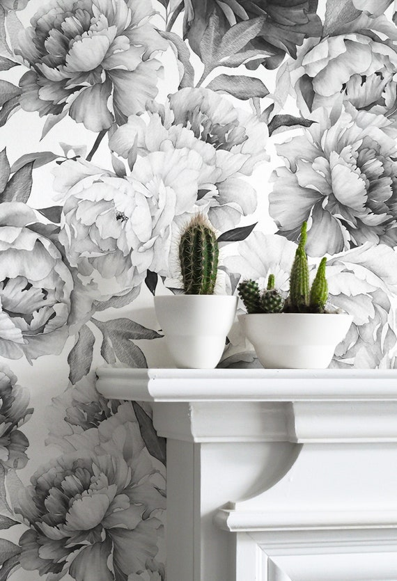 Giant Black And White Peony Removable Wallpaper Mural Etsy