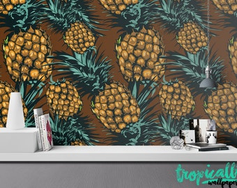 Pineapple Fruit Leaves Wallpaper - Removable Wallpaper - Tropical Plants and Flower Wallpaper - Exotic Wall Sticker - Tropical Wallpaper