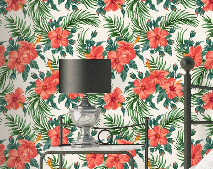 Hibiscus Palm Wallpaper - Removable Wallpapers - Floral Hibiscus Wallpaper - Self Adhesive Wall Decal - Temporary Peel and Stick Wall Art