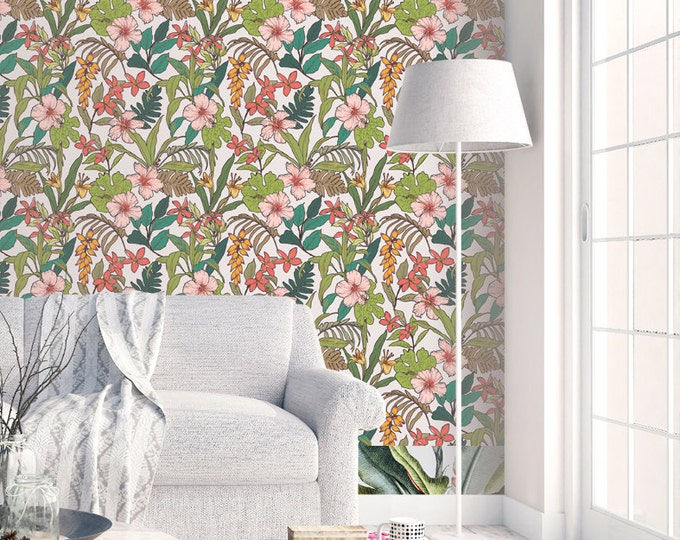 Tropical Leaves Pattern Wallpaper - Removable Wallpaper - Tropical Plants and Flower Wallpaper - Exotic Wall Sticker - Tropical Wallpaper