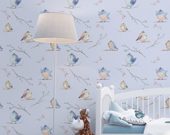 Watercolor Birds Wallpaper - Removable Wallpapers - Nursery Decor Wall Art  - Self Adhesive Wall Decal - Temporary Peel and Stick Wall Art