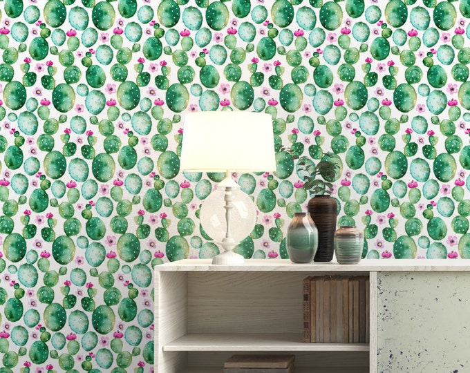 Watercolor Cactus and Flower Pattern Wallpaper - Removable Wallpaper - Watercolor Cacti Wallpaper - Exotic Wall Sticker - Tropical Wallpaper