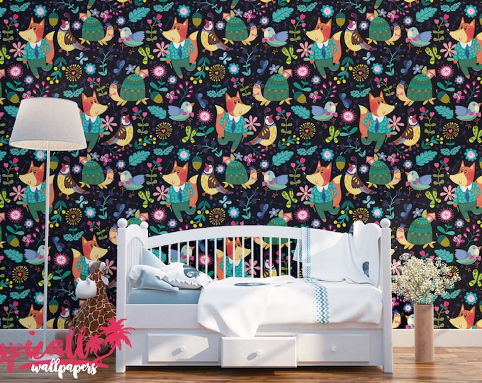 Forest Fox Pattern Wallpaper - Removable Kids Wallpaper - Childrens and toddler Wallpaper - Nursery Wall Sticker - Tropical Wallpaper