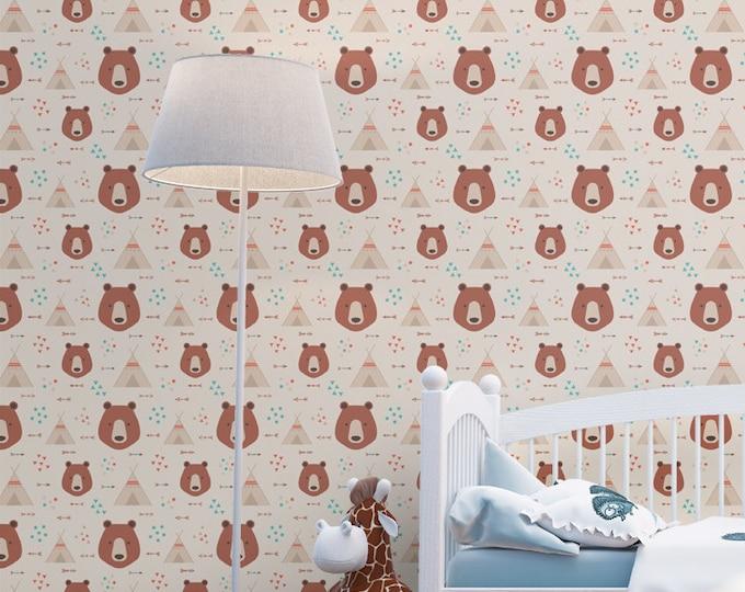 Tribal Animals Pattern Wallpaper - Removable Kids Wallpaper - Childrens and toddler Wallpaper - Nursery Wall Sticker - Native Wallpaper