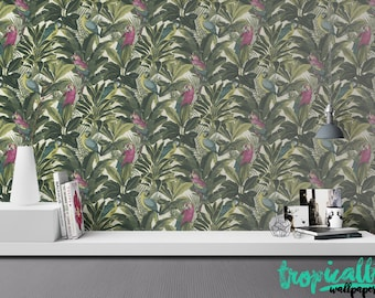 Exotic Parrot Wallpaper - Removable Wallpapers - Banana Leaf Print Wallpaper - Self Adhesive Wall Decal - Temporary Peel and Stick Wall Art