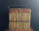 Woven Rattan Bamboo Lidded Basket Wine Box - Vintage Mini Trunk Train Case - Bohemian Picnic Basket Mid Century Boho Decor Storage Box